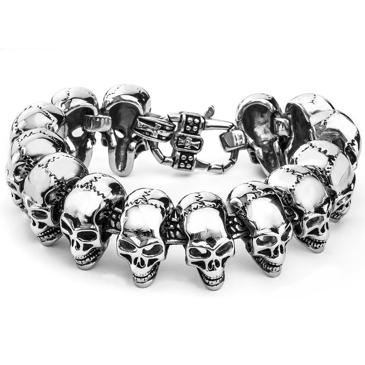 """Girls, Girls, Girls"" Women's Stainless Steel Polished Silver Skull Link Bracelet"