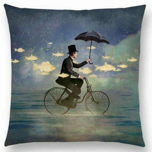 Man on Bike with Umbrella Pillow
