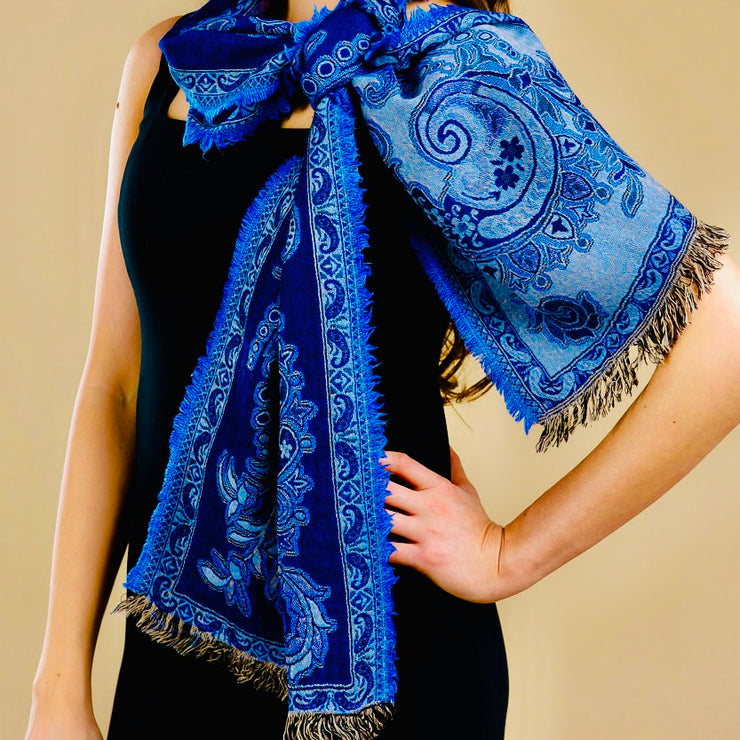 Jamevar Blue Reversible Wool Scarf