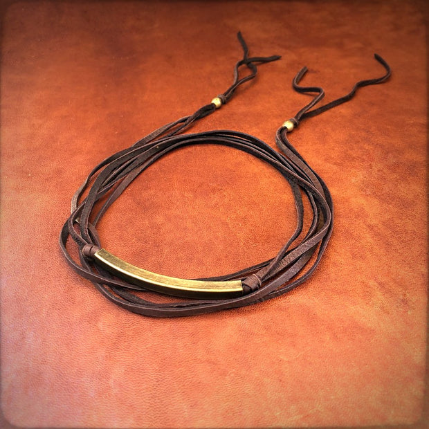 Astali Leather Wrap Choker Chocolate