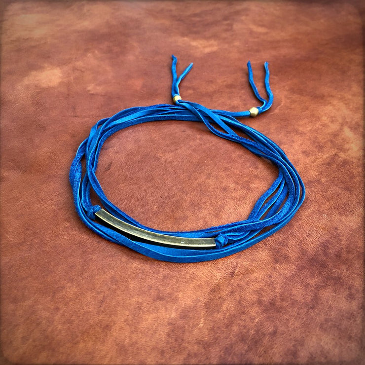 Astali Leather Wrap Choker Blue