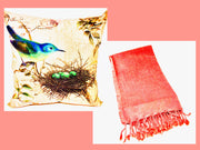 Blue Bird Nest Pillow & Stoned Washed Turkish Coral Throw
