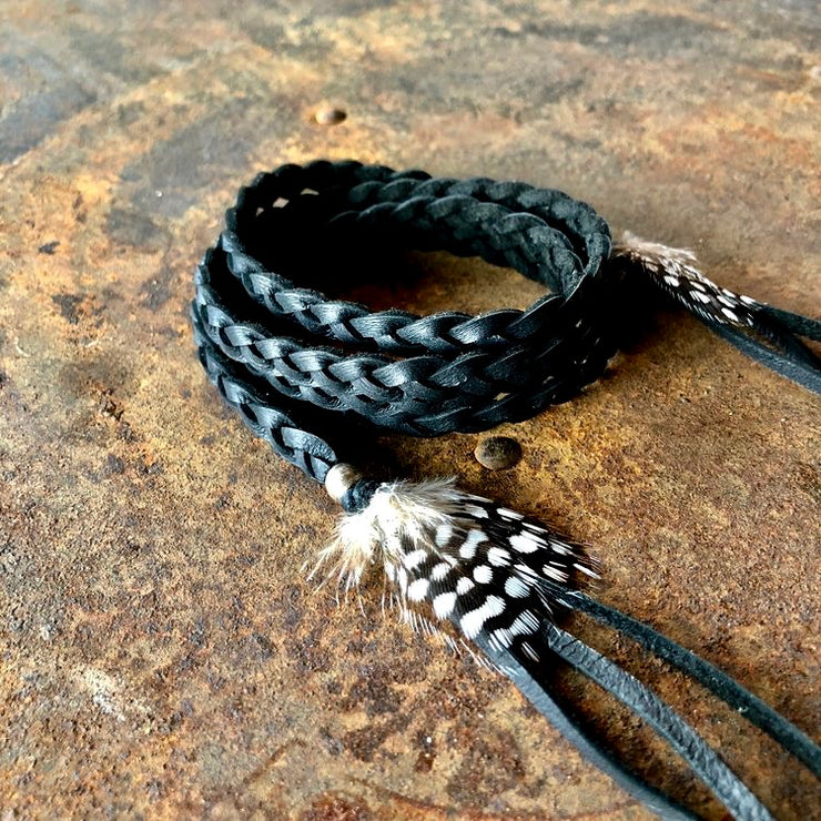 Bohemian Black Leather Accessory Wrap