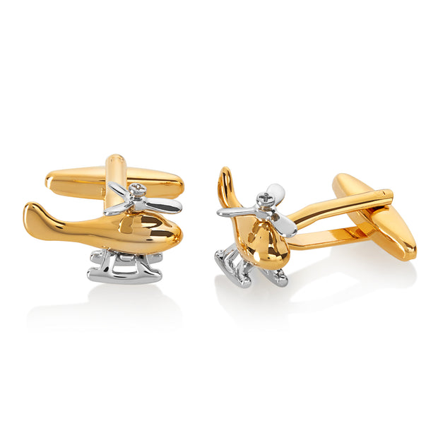 Men's Two-Tone Helicopter Spinning Propeller Cuff Links
