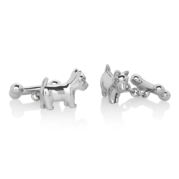 Men's High Polished Silver Dog and Bone Cuff Links