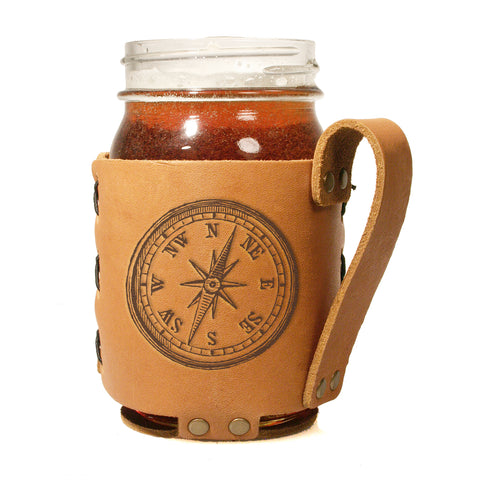 Compass Mason Jar & Sleeve | HometoNest