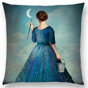 Woman Painting the Moon Pillow