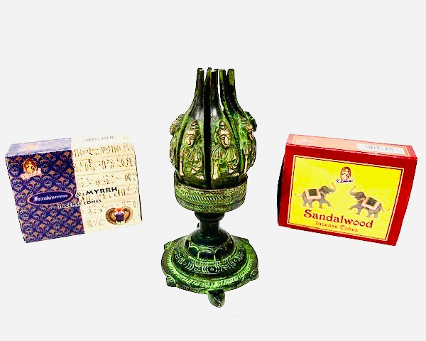 Buddha Lotus Incense Burner with Sandalwood & Frankincense & Myrrh