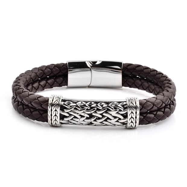 Men's Antiqued Stainless Steel ID Braided Leather Bracelet