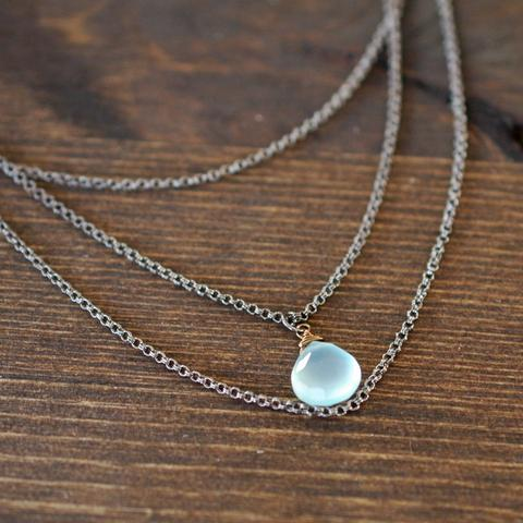"""Girls, Girls, Girls"" Triple Chain Mint Chalcedony Necklace"