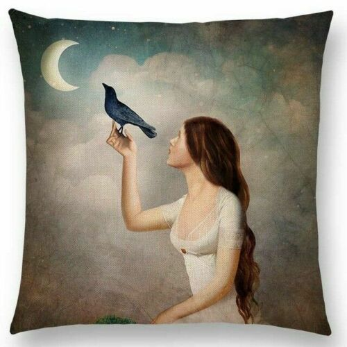 Woman Holding a Bird Pillow