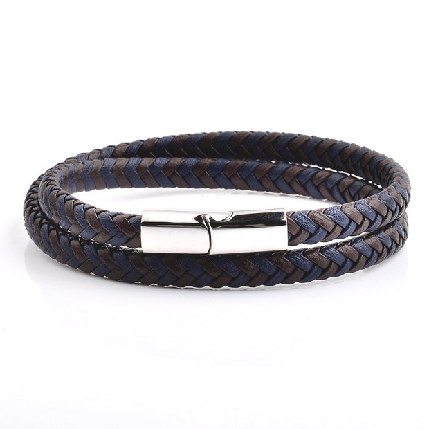 Men's Blue and Brown Braided Leather Wrap Bracelet