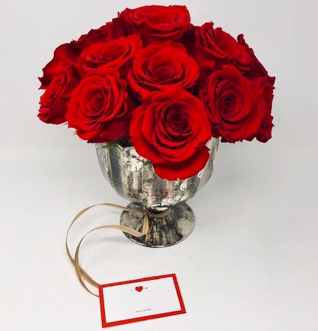 Forever Red Roses in Mercury Glass
