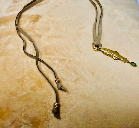 Tranquility Gold & Emerald Necklace w/Black Leather Cord