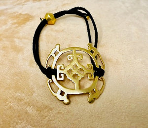 Intelligence Gold Amuleto Bracelet w/Black Leather Cord