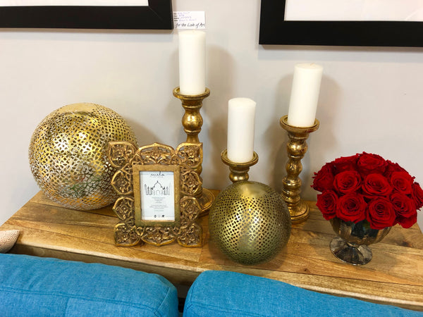 Willow Distressed Gold Candle Holder - Medium
