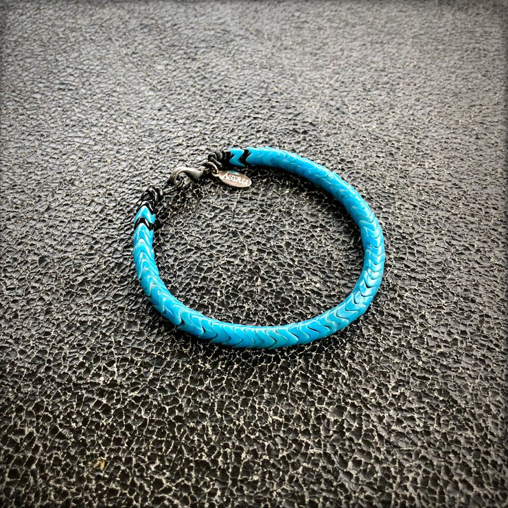 Astali Turquoise and Black Snake Glass Bracelet