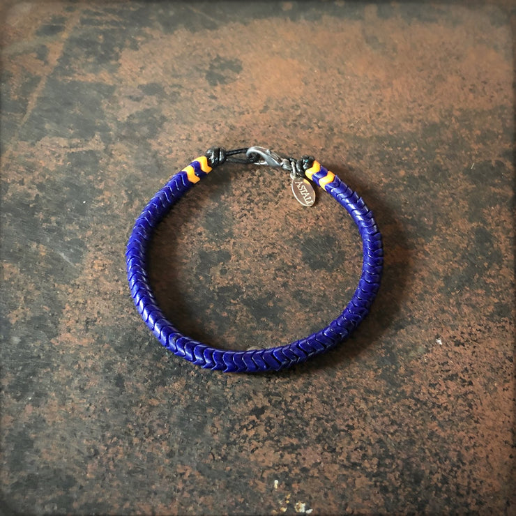 Astali Indigo and Gold Snake Glass Bracelet