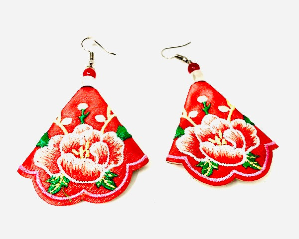Hmong Quilted Story Earrings - Coral