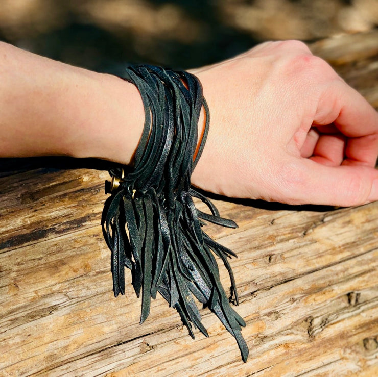 Bohemian Black Leather Multi-Strand Cuff
