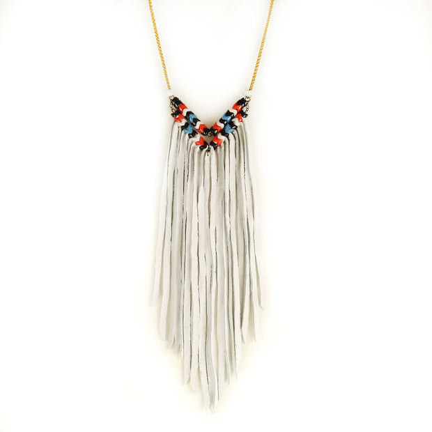 Astali Thunderbird Chevron Fringe Necklace
