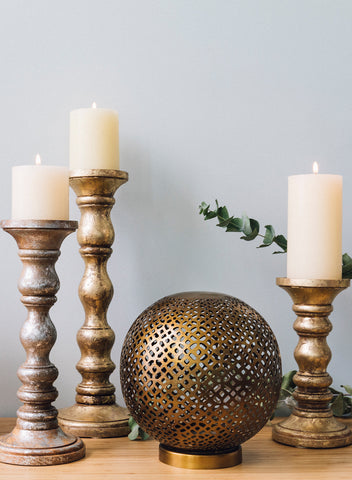 Mantra Antique Brass Globe Lantern Large