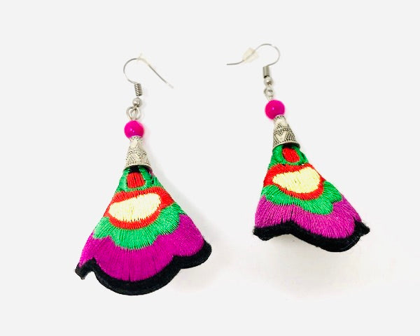 Hmong Quilted Story Earrings -  Purple
