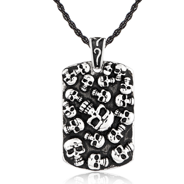 Vince Neil Unisex Stainless Steel Skulls Inlay Dog Tag Pendant Necklace