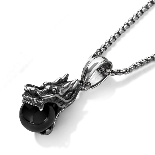 """Knock'em Dead Kid©"" Unisex Dragon Stainless-Steel & Black Onyx Orb Dragon Pendant"