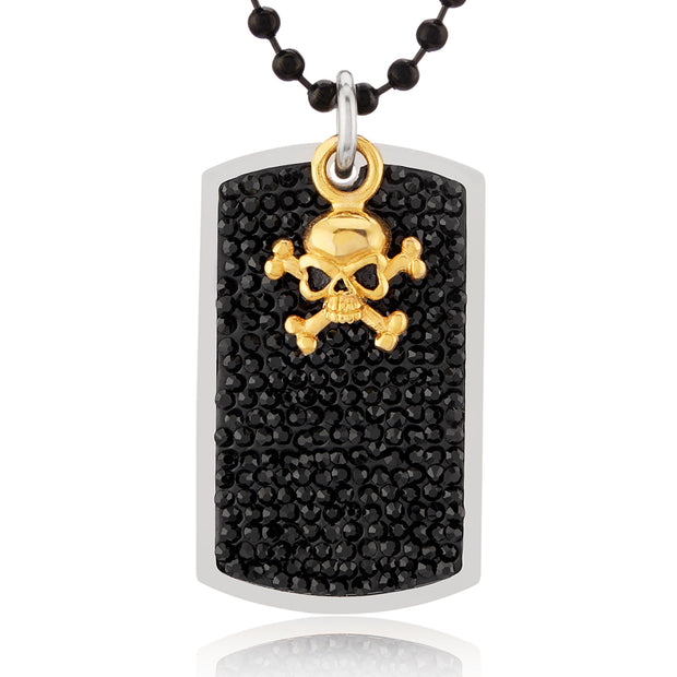 """Knock'em Dead Kid©"" Unisex Gold Stainless-Steel & Black Marcasite Skull Dog Tag Pendant"