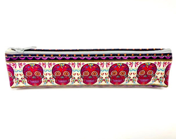 Sugar Skull Zippered Pouch - Vegan Leather