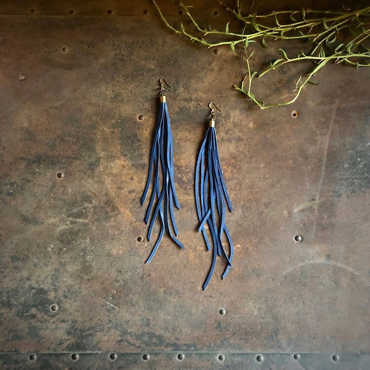 Astali Leather Tassel Earrings - Blue