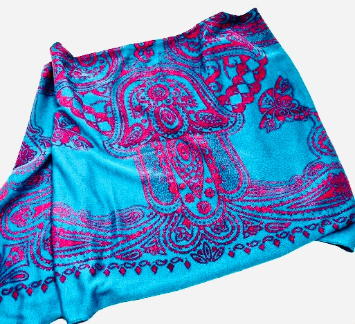Hamsa Scarf in Jewel Tones of Rose & Turquoise