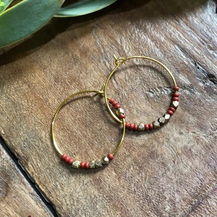 Harlow© Rust & Brass Gold Ring Earrings