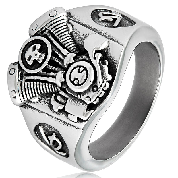 Heavy Metal Heart© Men's Heavy Metal Skull, Engine Ring