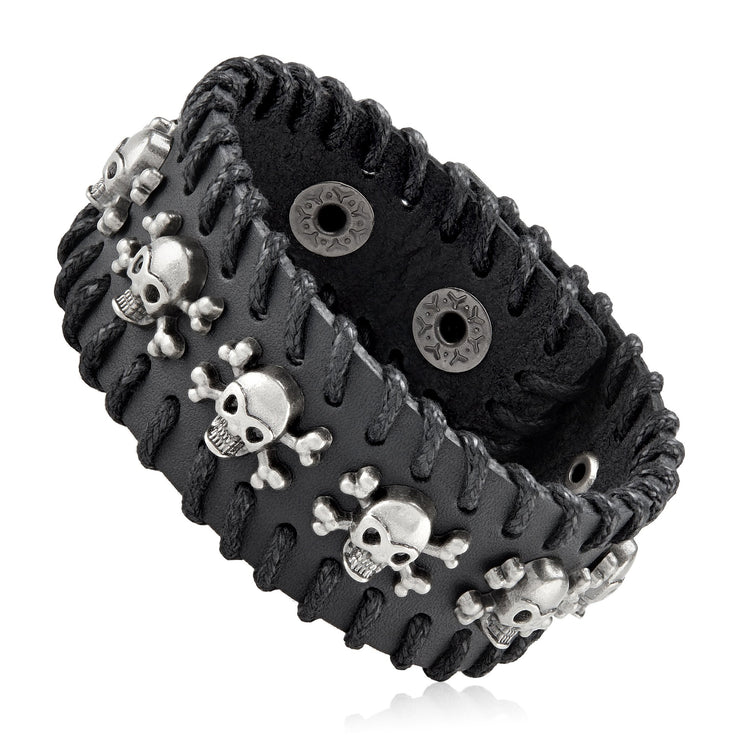 """Knock'em Dead Kid©"" Unisex Black Leather &  Stainless Steel Skull & Cross Bones Cuff"