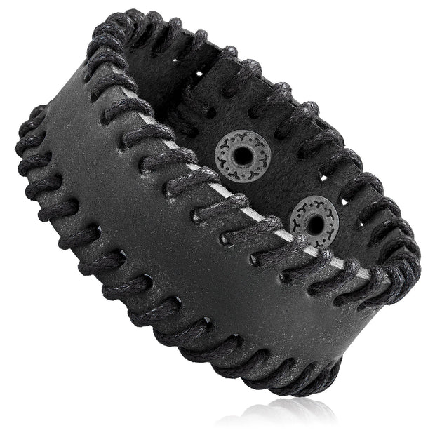 """Knock'em Dead Kid©"" Unisex Black Leather Stitched Cuff"