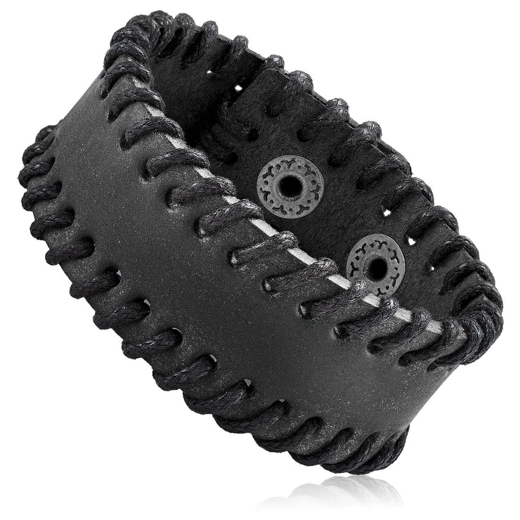 """Knock'em Dead Kid""  Unisex Adjustable Leather Stitched Cuff Bracelet Black"