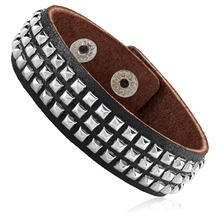 """Knock'em Dead Kid©""  Unisex Black Leather & Stainless Steel Square Studded Cuff"