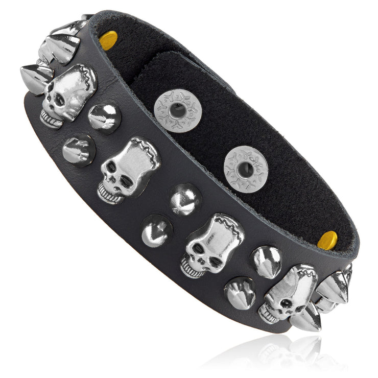 """Knock'em Dead Kid©"" Unisex Black Leather & Stainless Steel Skull & Stud Cuff"