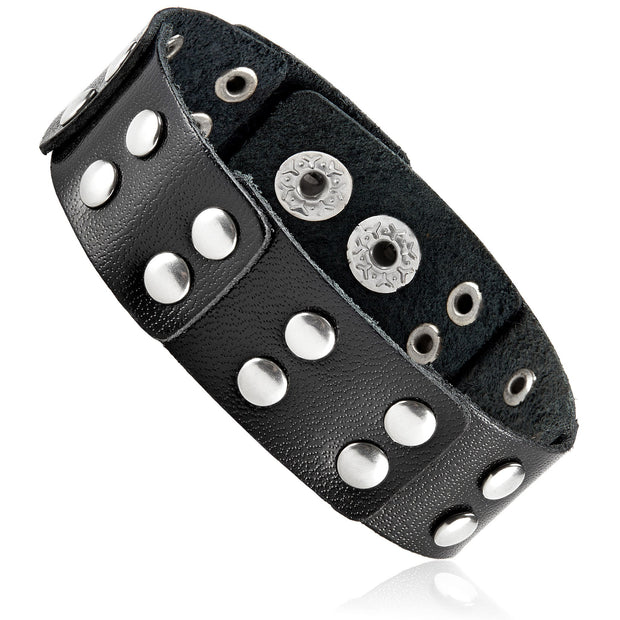 """Knock'em Dead Kid©""  Unisex Leather & Stainless Steel Button Studded Cuff"