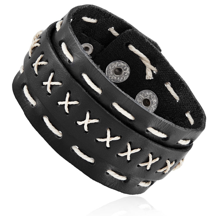 Heavy Metal Heart© Black, Leather, White, Stitched Cuff
