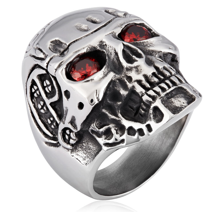 """Wild Side©"" Men's, Blood-Red, Crystal, Eyed, Stainless Steel, Skull Ring"
