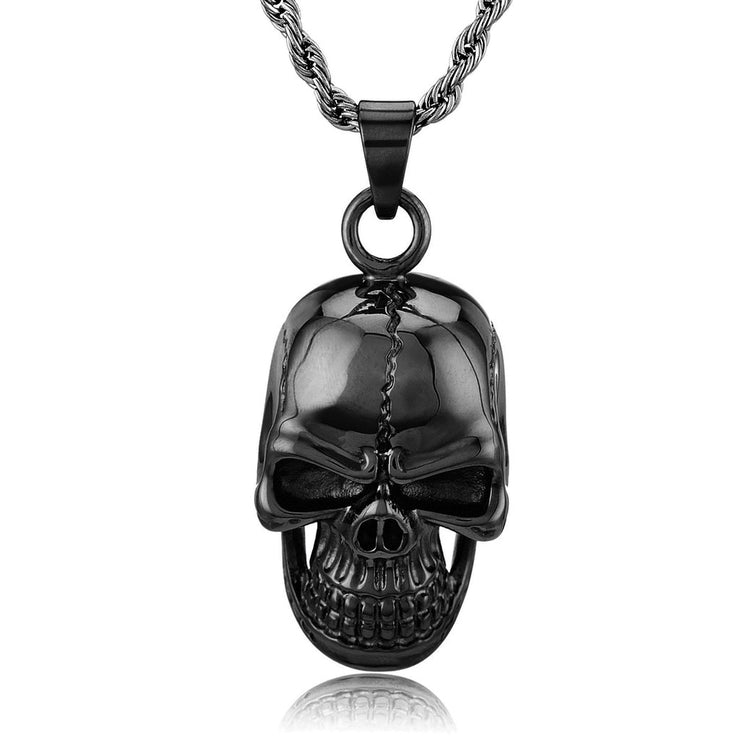 Knock 'em Dead, Kid, Black Skull Pendant Necklace