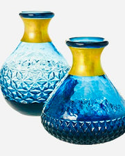 Set of 2 Cerulean Blue Bud Vases - Only 1 Set Available!