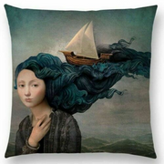 Woman with Boat in Hair Pillow