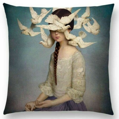 Woman with Braid and Birds Pillow