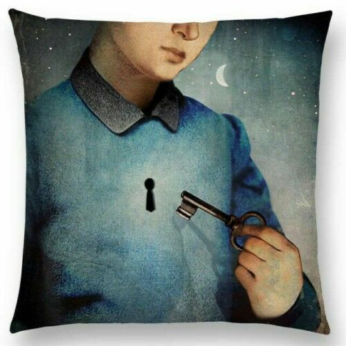 Woman with Key Pillow