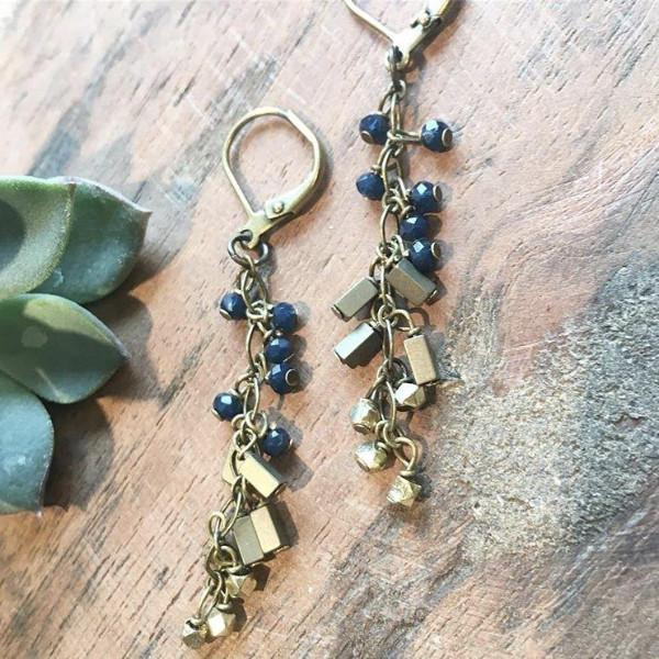 """Girls, Girls, Girls"" Deep Blue Earrings"