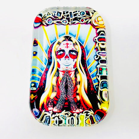 Sugar Skull St. Valentina Glass Paperweight
